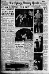 Front page of the Sydney Morning Herald the day after Graeme Thorne disappeared on July 7, 1960.