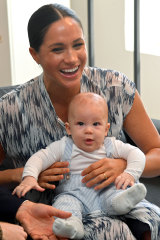 Meghan and baby son Archie at the Desmond & Leah Tutu Legacy Foundation during their royal tour of South Africa.
