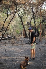 Sean Abbott at his mother's burnt-out property in Upper Colo.