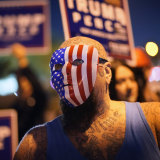 A Trump supporter outside the Clark County Election Department in Nevada.