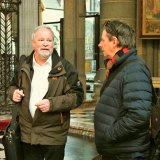 Martial Masschelein, left, with Fairfax writer Tony Wright, in the reconstructed Ypres Cathedral