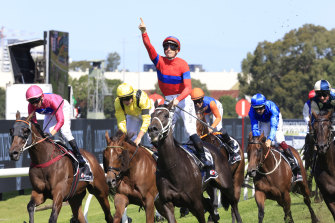 James McDonald salutes on Verry Elleegant as she wins the Ranvet Stakes over 200m earlier this year