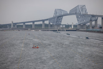 The closed Tokyo rowing course on Monday.
