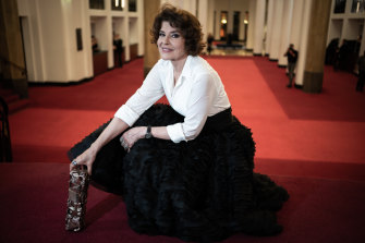 Fanny Ardant with her Cesar award for best supporting actress for Belle Epoque.