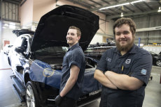 Mitchell Evans (front) and Jordan Stansfield (left) are apprentices at Volvo Parramatta.