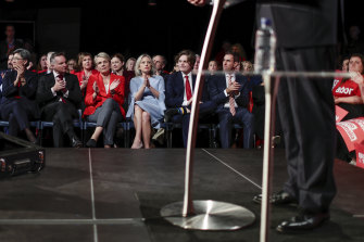 Labor senator Penny Wong, shadow treasurer Chris Bowen, Deputy Opposition Leader Tanya Plibersek, Chloe Shorten and Rupert listen as Bill Shorten addresses a rally in Sydney's inner west last month.