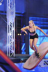 Canberra's Zoe Featonby live on the set of Australian Ninja Warrior.