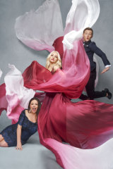 Kate Miller-Heidke (centre) and Eurovision hosts Myf Warhurst (left) and Joel Creasey (right) vamp it up.