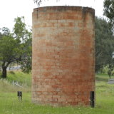 The century-old brick silo which stands sentinel in the Neil Davis Reserve.