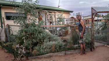 Dave Edwards outside his home on the old Aboriginal mission in Balranald.