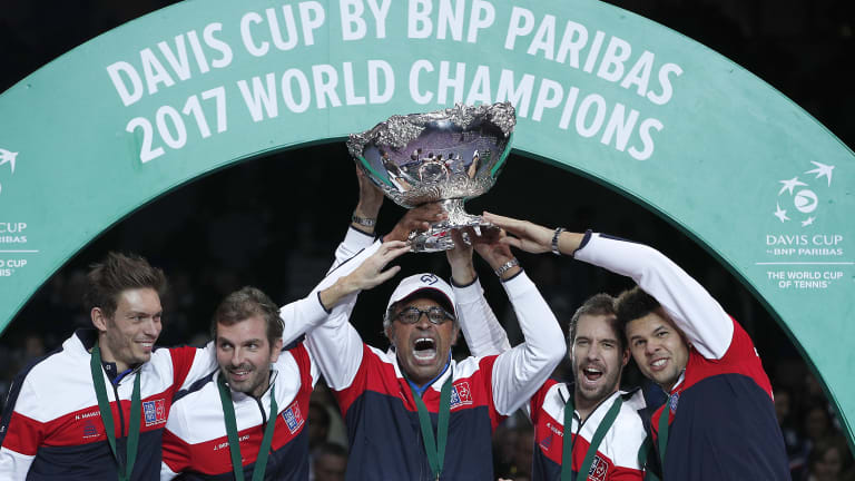 France celebrate their 2017 Davis Cup win. The tournament is set for a big change.