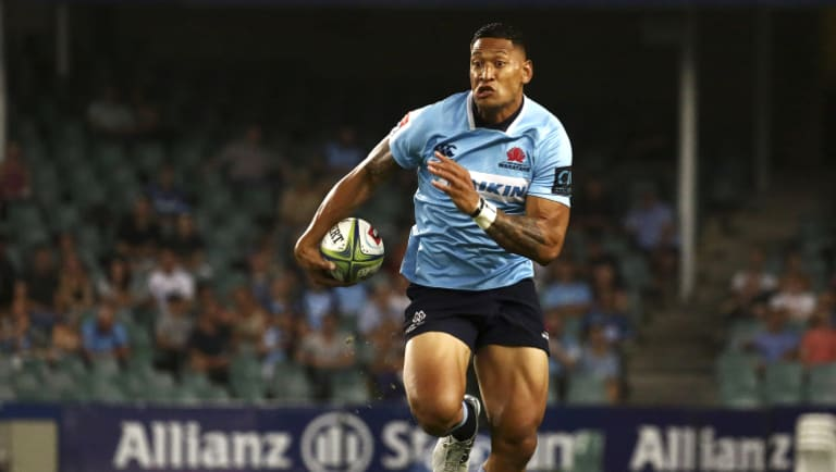 Star: Israel Folau in action for the Waratahs against the Stormers in round two.