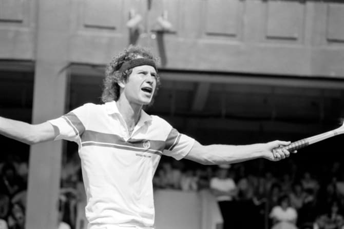 "McEnroe at Wimbledon in 1981 where he coined the phrase ""You cannot be serious!"""