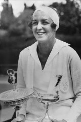 """""""It was in the lounge that the English girls caught sight of Joan Hartigan..."""" Joan Hartigan winner of the Australian Tennis Championships in 1933, 1934 and 1936."""