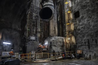 A giant shaft and air vent to the site of the Barangaroo station 30 metres below the surface.