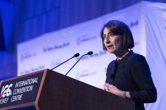 NSW Premier Gladys Berejiklian addresses the Sydney Morning Herald Infrastructure Summit on Thursday.