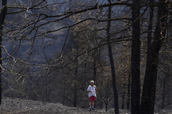 A man walks through the burned forest, in Ora village in Cyprus on Sunday.