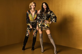 Designer Camilla Franks (left) and Jessica Gomes model the Wonder Woman collection.