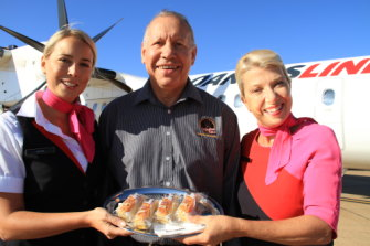 Herb Smith's company Dreamtime Tuka is selling snacks, including a lemon myrtle coconut slice, to Qantas.