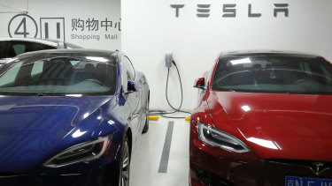 A public charging station for Tesla at the parking lot of Joy City shopping mall in Chaoyang district of Bejing.