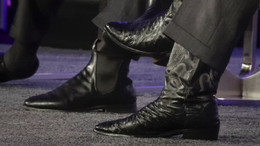The RM Williams boots of Prime Minister Malcolm Turnbull and the boots of Brian Sandoval.
