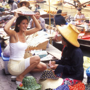 Tourists at market haggling
