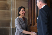 NSW Premier Gladys Berejiklian arrives at Government House in Sydney to meet the Governor, David Hurley.