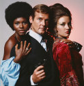 Gloria Hendry, Roger Moore and Jane Seymour in a publicity shot for Live and Let Die.