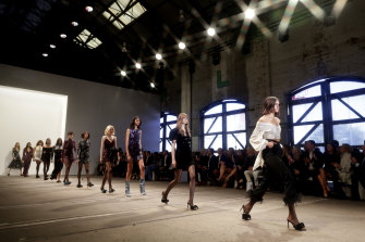 Models walk the runway during the Rebecca Vallance show.