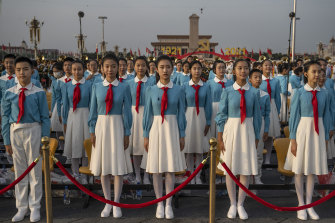 Chinese students sang patriotic songs to mark the centenary.