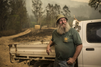 James Evill decided to stay and defend his property from the Carrai East bushfire.