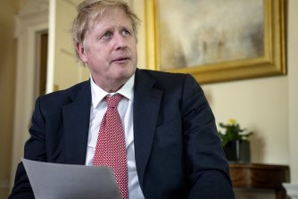 British Prime Minister Boris Johnson records a video message on Easter Sunday after his release from the hospital.