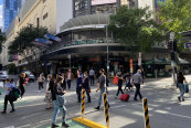 Brisbane's Elizabeth Street showed some shoppers were using the Myer Centre complex and nearby retailers.