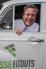 Queensland LNP leader Tim Nicholls visits a small business in Brendale on Monday.