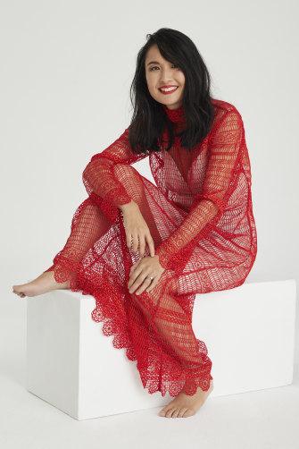 Alice wears Nevenka dress and slip.