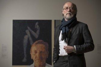 The artist Bill Henson with Archibald finalist John Beard's artwork Edmund (+Bill) at the AGNSW.