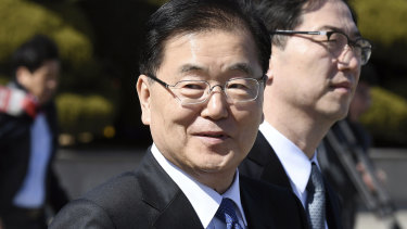 South Korea's national security director Chung Eui-yong on his way to the North.