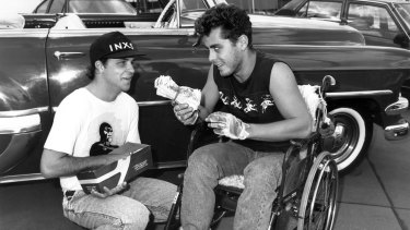Marcus Graham (right) as Wheels, before his recovery, in <i>E Street</i>.