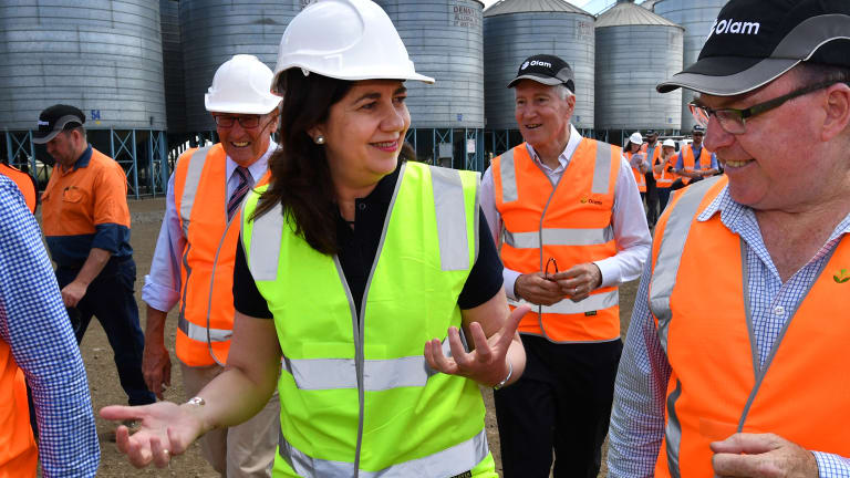 Queensland Premier Annastacia Palaszczuk inspects the Olam grain processing facility at Mt Tyson on Queensland's Darling Downs.