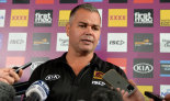 Anthony Seibold speaks at a press conference before a Broncos training session.
