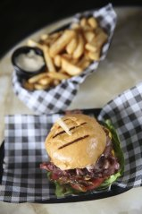 """A """"tradesman's burger"""" and fries at the Palisade Hotel, Millers Point."""