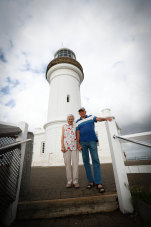 Wendy and Bob Levett who have retired form volunteer work at Cape Byron Lighthouse this week.