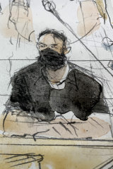A court sketch of defendant Salah Abdeslam in court on Wednesday.