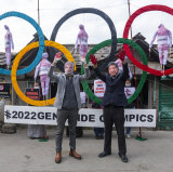 Activists in India protest against the Beijing Winter Olympics.