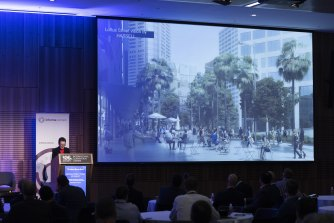 Lord Mayor Clover Moore speaks at The Sydney Morning Herald Infrastructure Summit.
