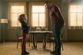 Chloe Coleman (Sophie) and Dave Bautista (J..J.) in My Spy.