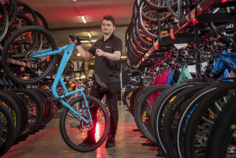 Ben McCarthy, team leader at 99Bikes in South Melbourne, says bike sales have been 'wild' through COVID