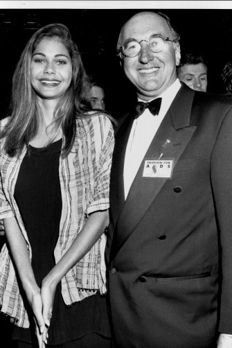 Elaine George with modelling icon Peter Chadwick in 1994 after she signed with the agency.