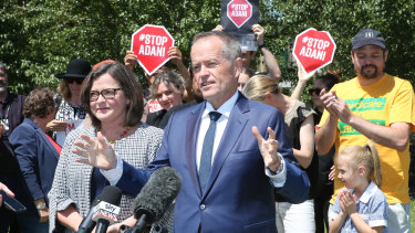 Anti-Adani protesters at Bill Shorten's announcement of Ged Kearney as the Labor candidate for Batman.