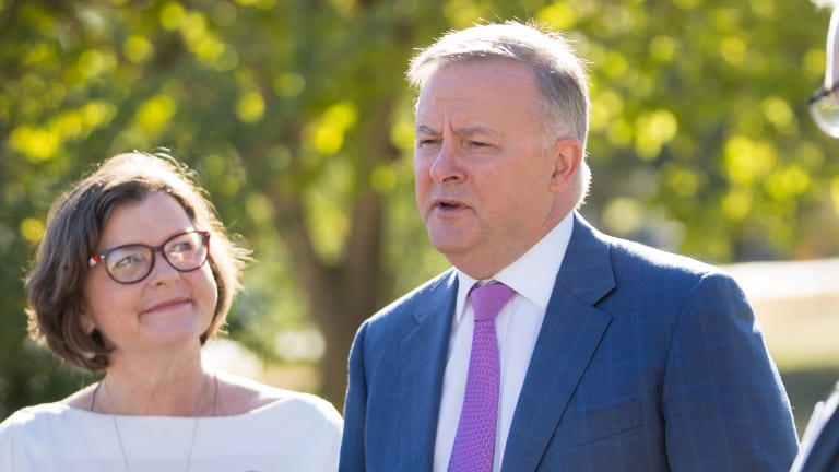 Labor's Anthony Albanese joins ALP candidate for Batman Ged Kearney on the hustings on Friday.